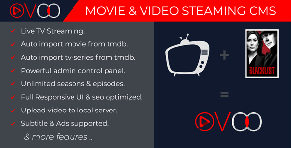 OVOO v2.5.7 – Movie & Video Streaming CMS with Unlimited TV-Series PHP Script Download