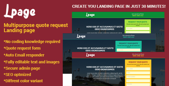 Lpage – Multipurpose quote request Landing page PHP Script