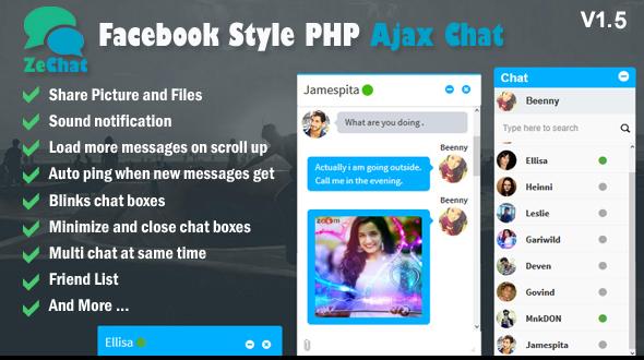 Zechat v1.5 – Facebook Style Php Ajax Chat PHP Script Download