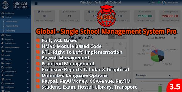 Global – Single School Management System Pro v3.5.0 PHP Script Download