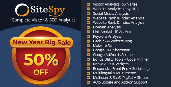 SiteSpy v5.0.1 – The Most Complete Visitor Analytics & SEO Tools PHP Script Download