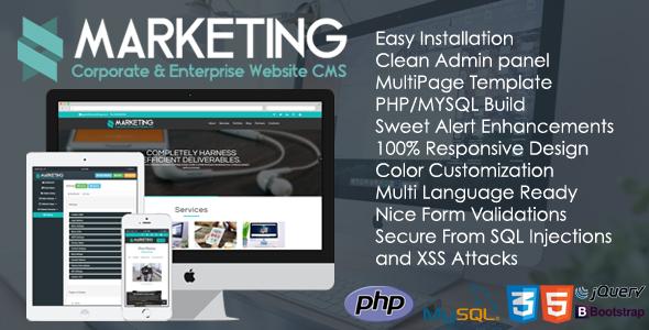 Marketing v1.0.1 – Corporate & Enterprise Website CMS PHP Script