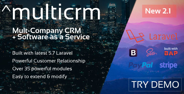 Multicrm v1.1.5 – Powerful Laravel CRM +Front End Software As A Service PHP Script