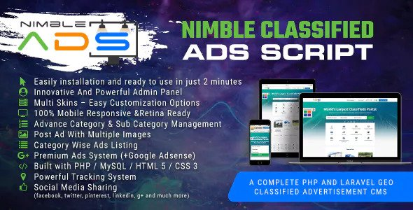 Nimble Classified Ads Script v1.19 – PHP And Laravel Geo Classified Advertisement CMS PHP Script