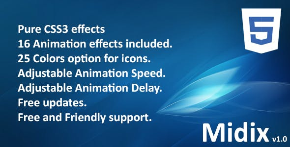 Midix – CSS3 Animation Effects Without Jquery PHP Script