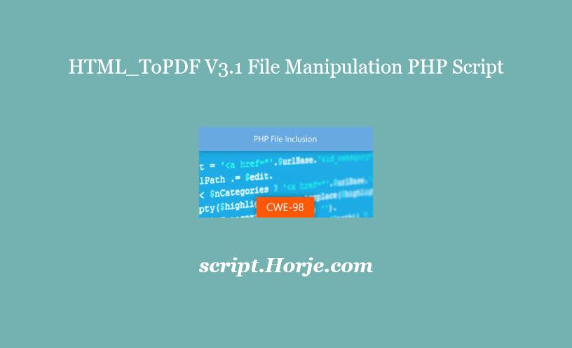 HTML_ToPDF V3.1 File Manipulation PHP Script