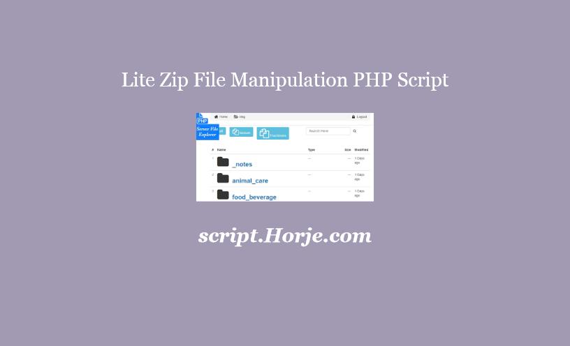Lite Zip File Manipulation PHP Script