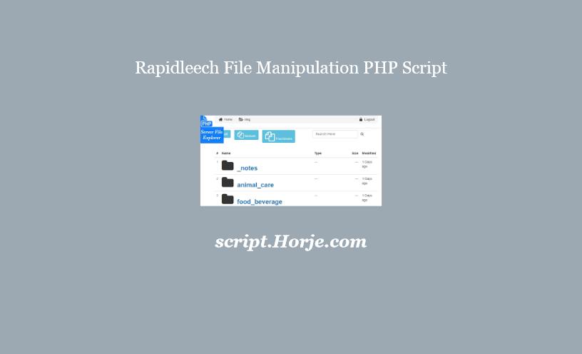 Rapidleech File Manipulation PHP Script