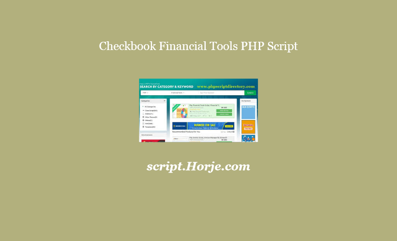 Checkbook Financial Tools PHP Script