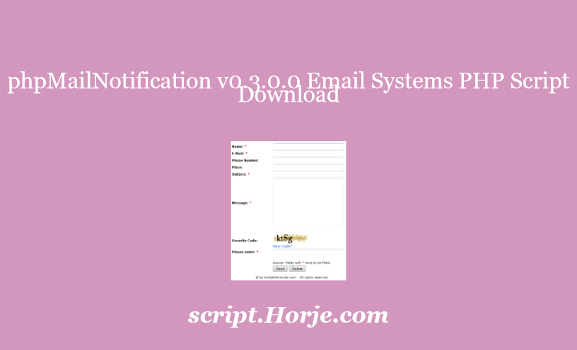 phpMailNotification v0.3.0.0 Email Systems PHP Script Download