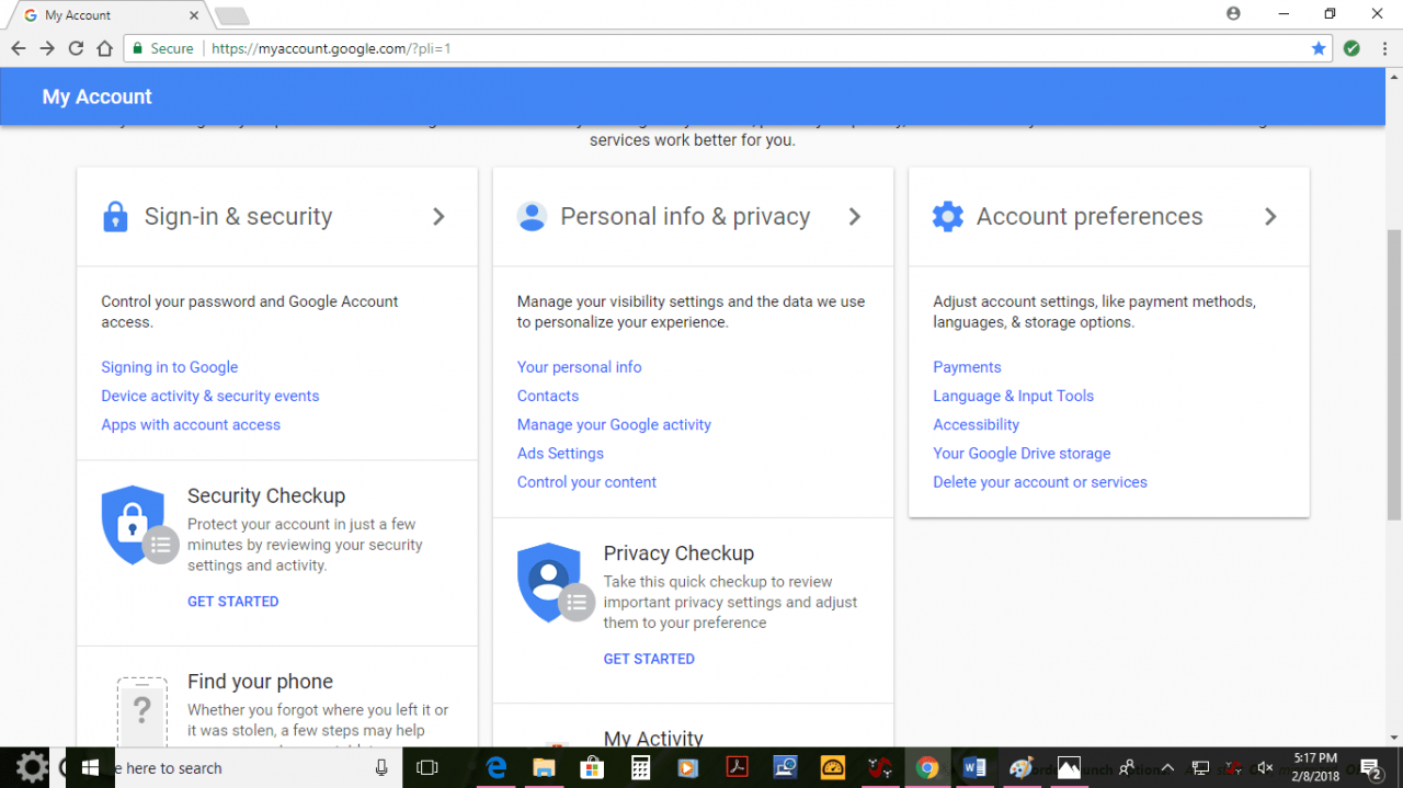 Screenshot of Google account