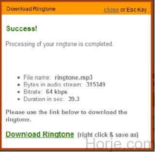 Ringtone download window